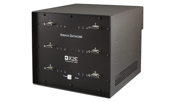 The XORAYA Datacube is a read station for up to six external storage units.